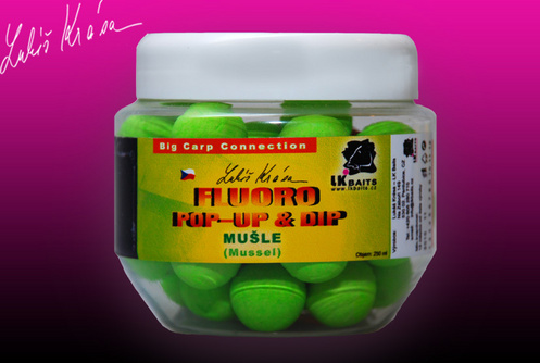 Fluoro Pop-up Mussel 14 mm(zelená) + dip 150 ml