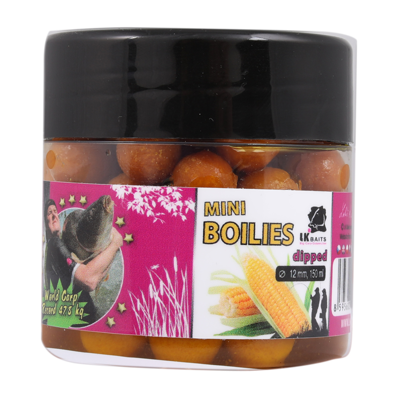 LK Baits Mini Boilies in Dip Record Corn 12mm 150ml
