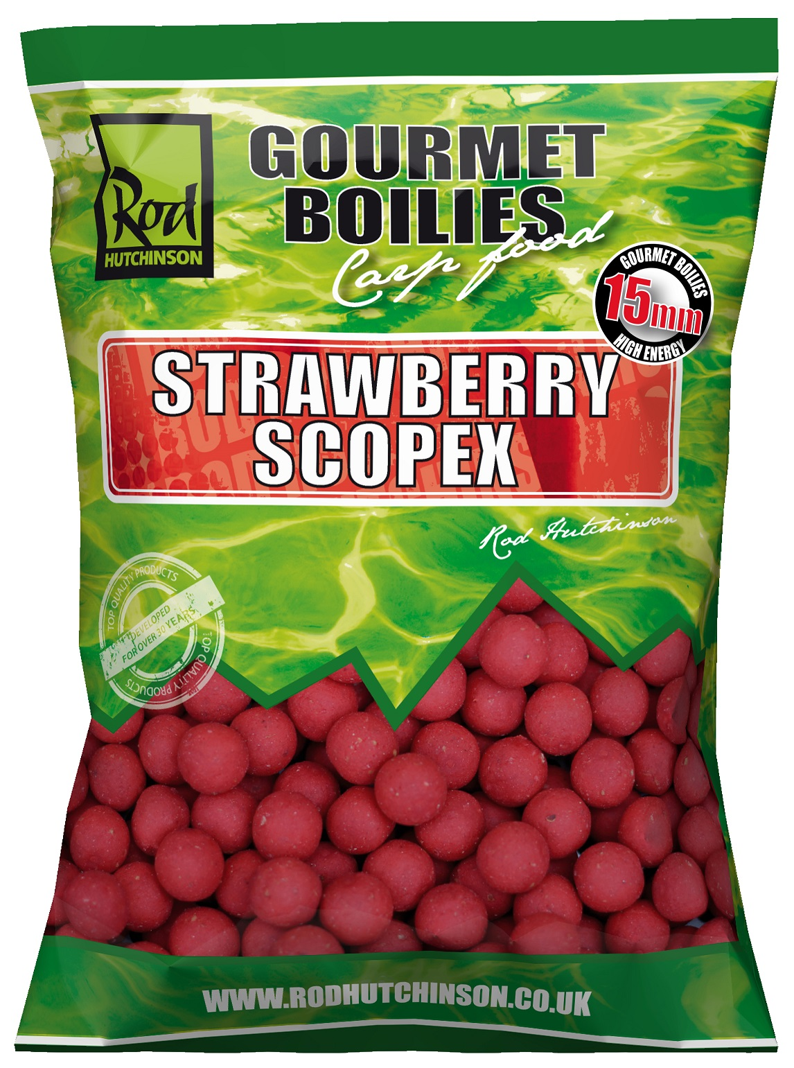 RH Boilies Strawberry & Scopex  15mm  1kg