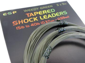 ESP Šokový vlasec - Tapered shock leaders Weedy green - 3x9m