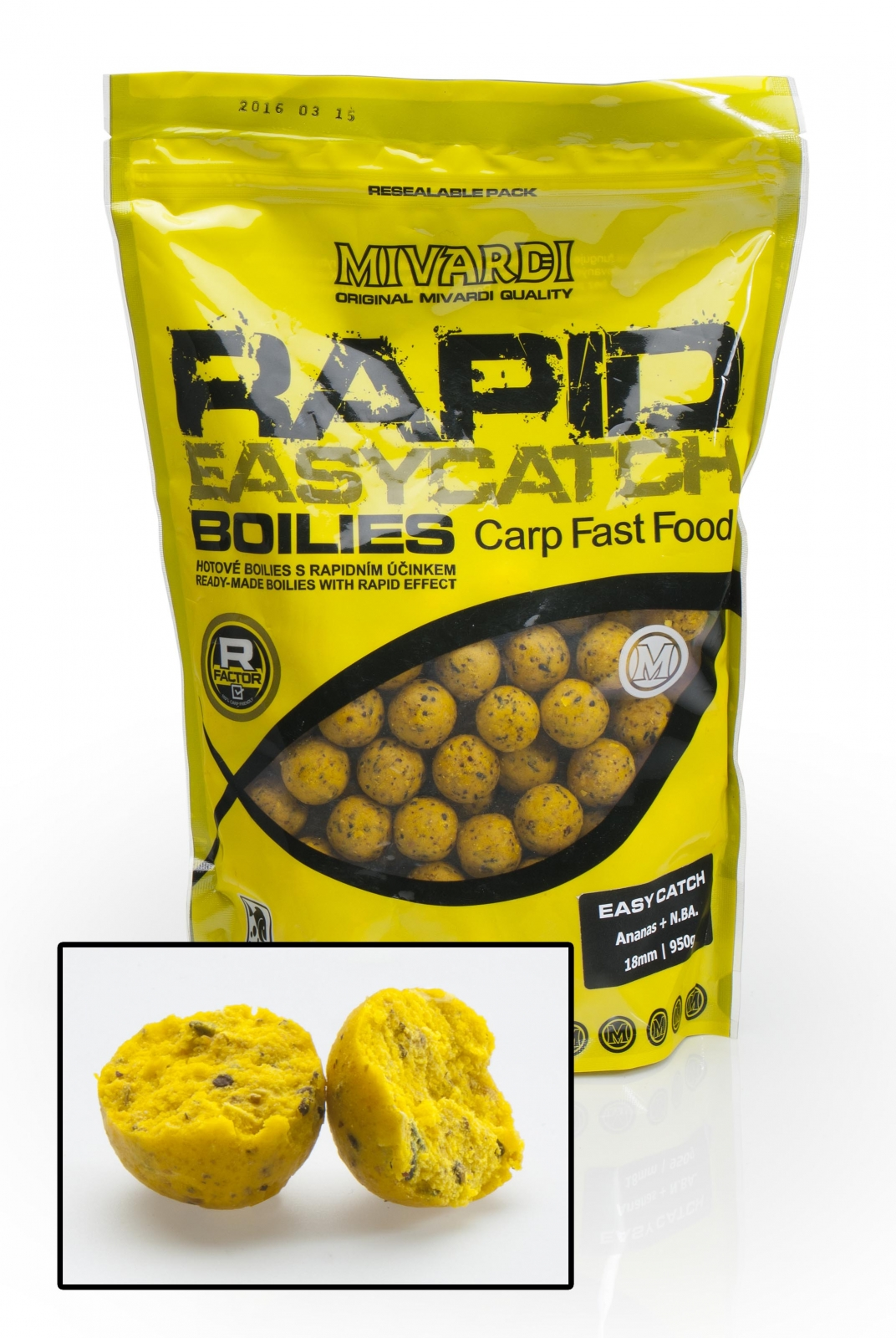 Mivardi boilies Rapid Easy Catch - Ananas +N.BA. 950g 18mm